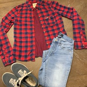 Hollister red and navy plaid flannel shirt